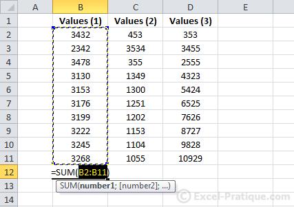 sum function - excel autofill series