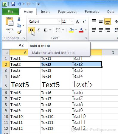 bold text - excel basics2