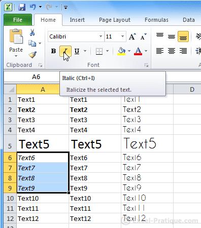 italic text excel basics2