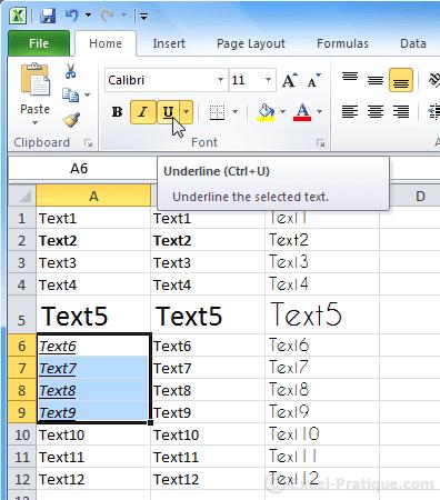 underline text excel basics2