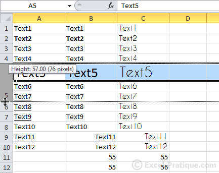 edit row height - excel basics3