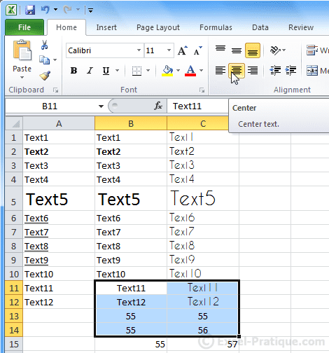 text center - excel basics3
