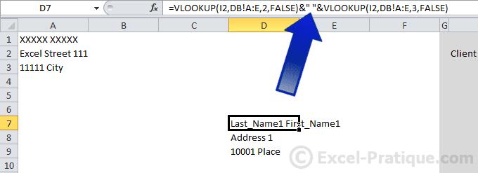 concatenate vlookup excel billing database