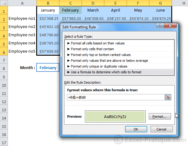 freeze row - excel custom conditional formatting