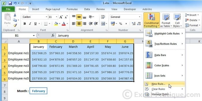 new rule - excel custom conditional formatting