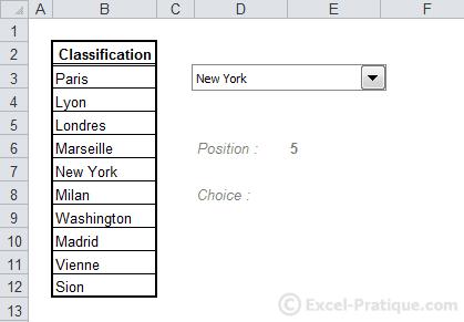 display dropdown list excel
