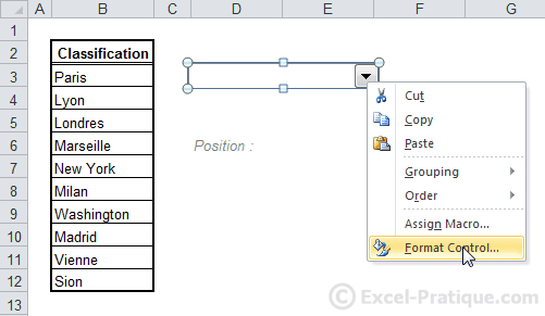format dropdown list excel