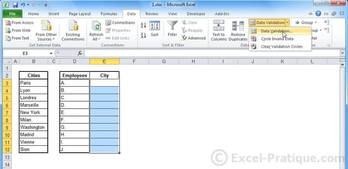select cells - excel dropdown lists validation