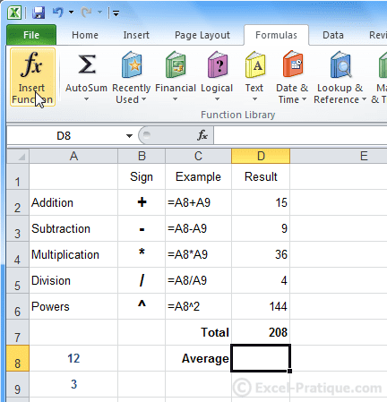 insert function excel formulas calculations functions