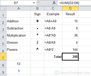 sum result excel formulas calculations functions
