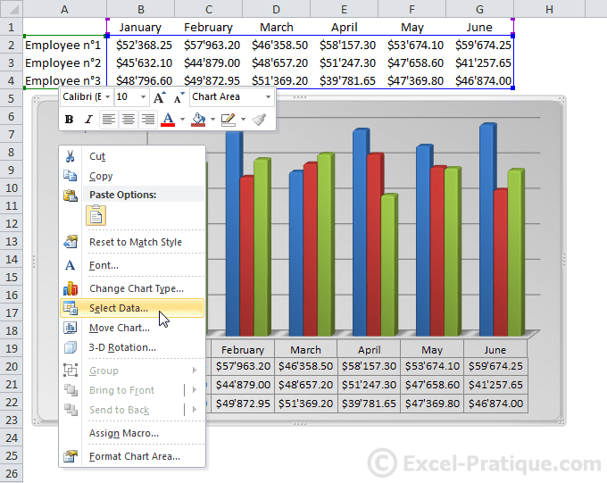 how to change graph rangge on excel