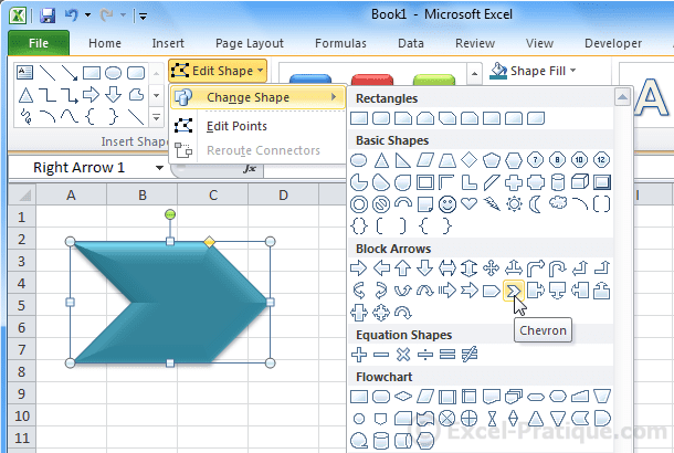 change shape - excel inserting shapes