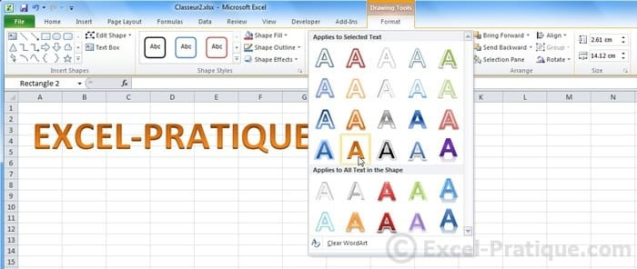 change style - excel inserting wordart images