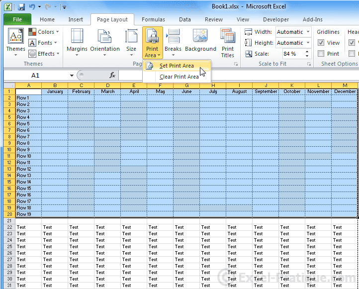 print area - excel page layout