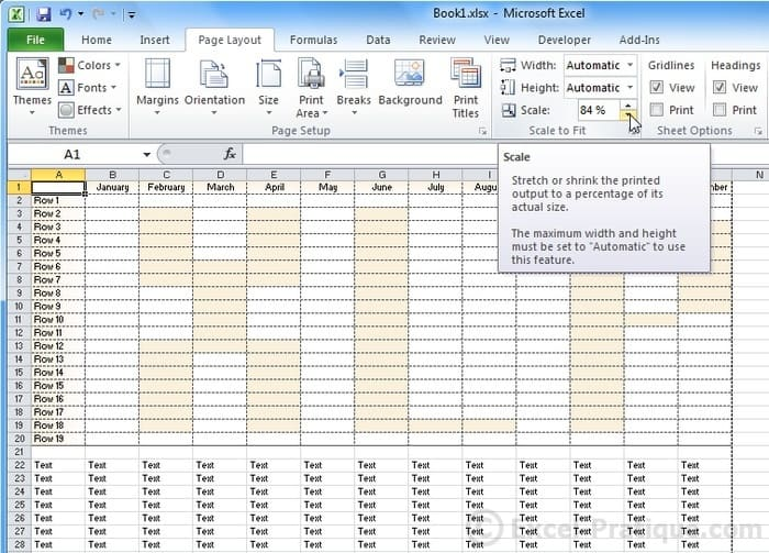 scale excel page layout