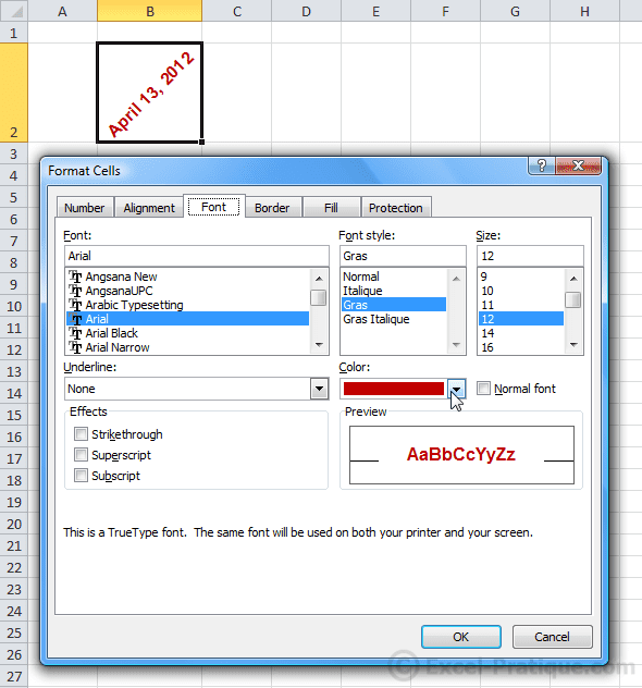 format font - excel size and formatting