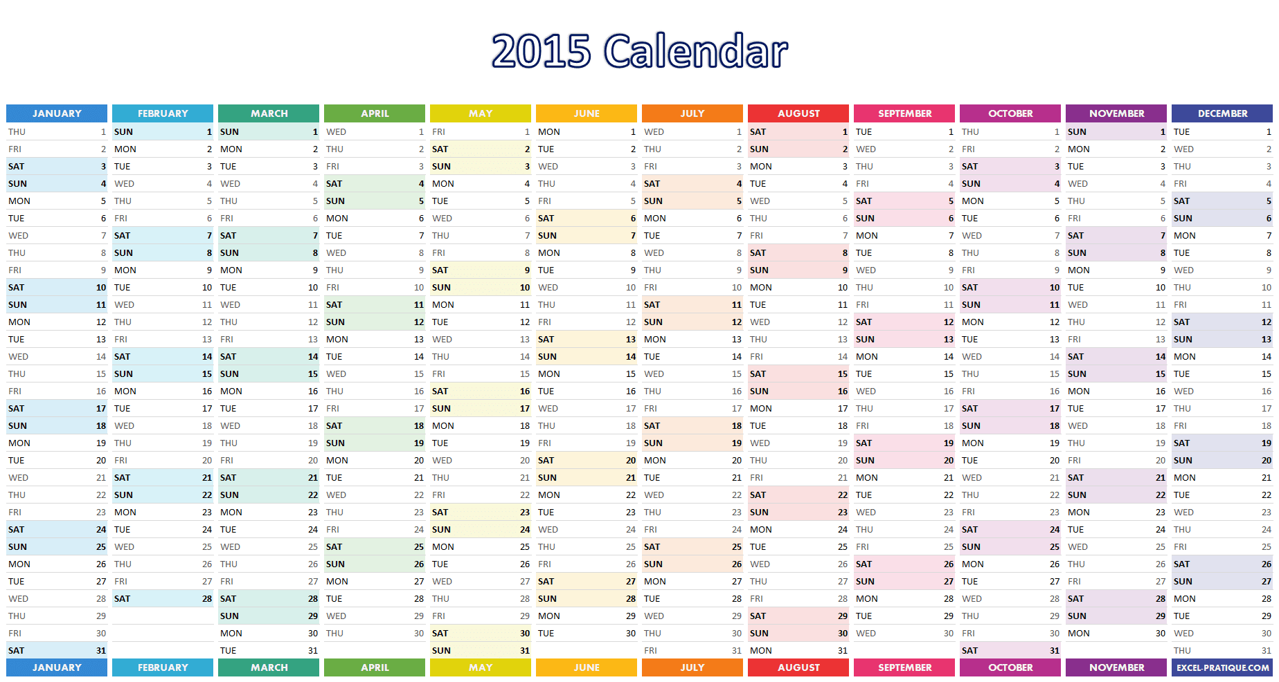 excel calendar 2015