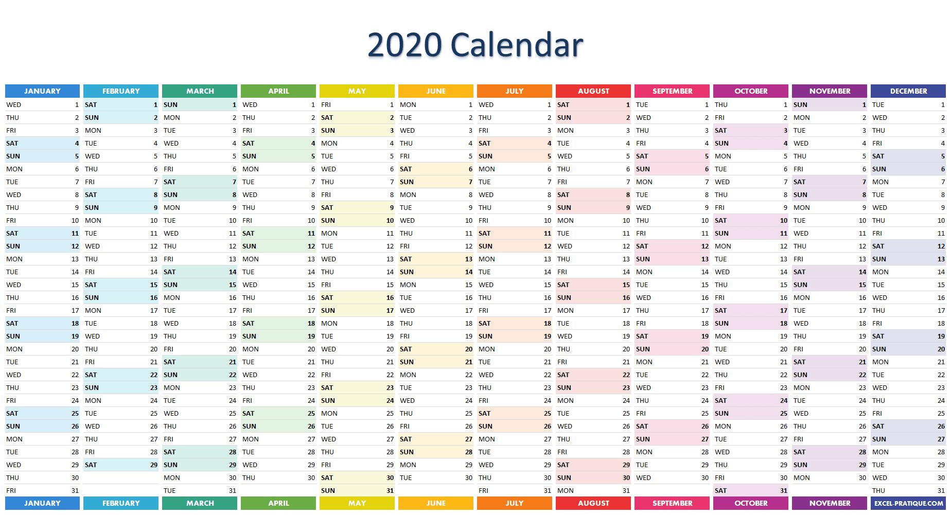 2020 excel calendar
