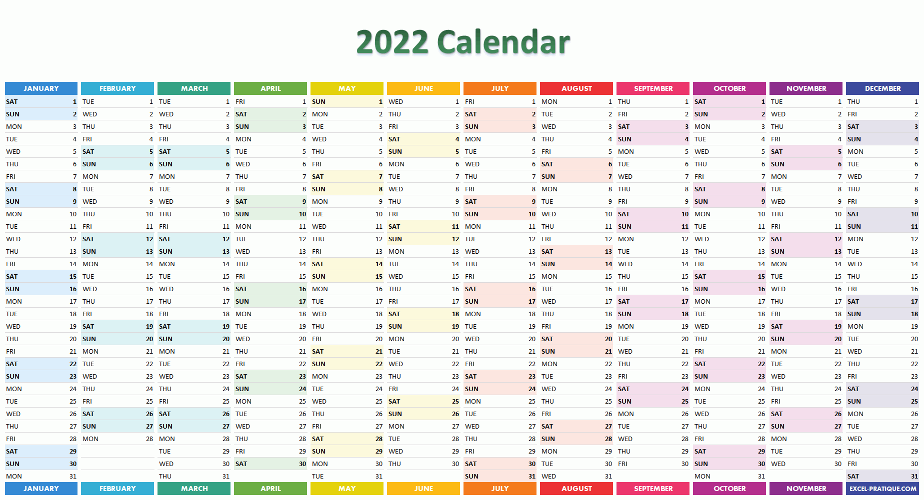 2022 Weekly Calendar Excel.2022 Calendar