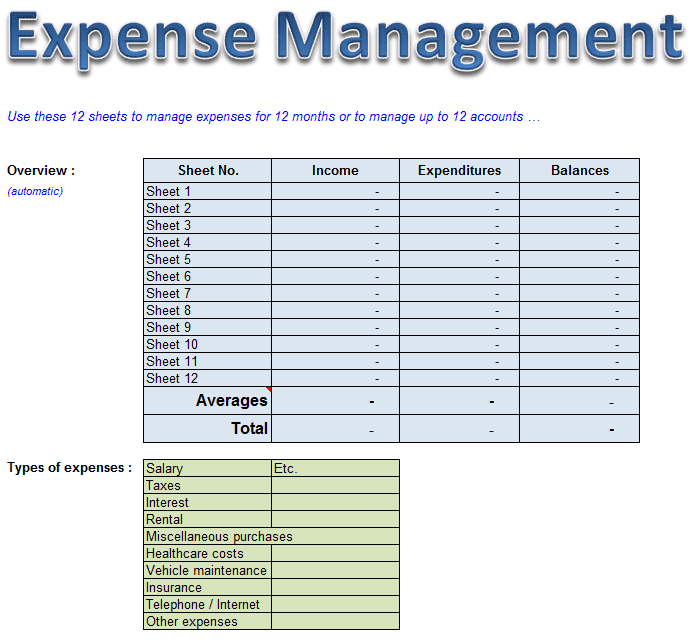 expense management excel