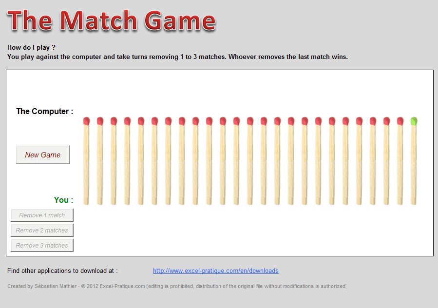 excel match game