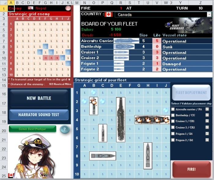 battle sea in excel excel