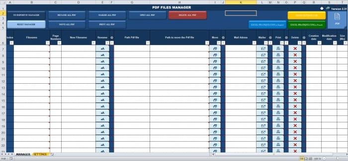 excel pdf files manager excel