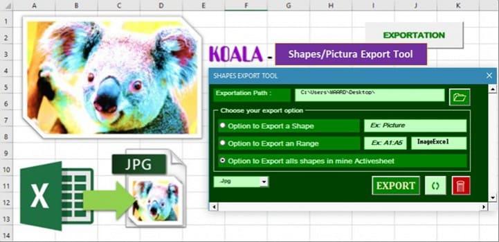 koala shape export tool excel