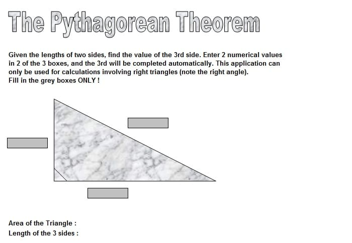pythagorean theorem excel