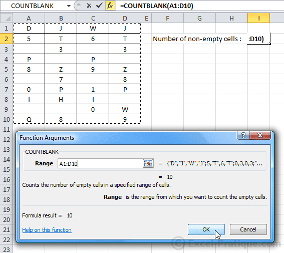 countblank function - countblank