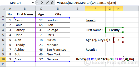 how to add use index match