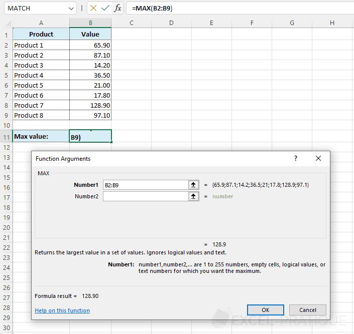 max function - max
