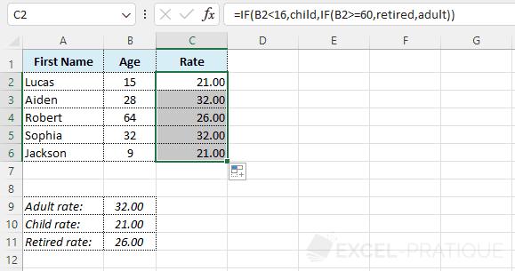 if formula - nested ifs