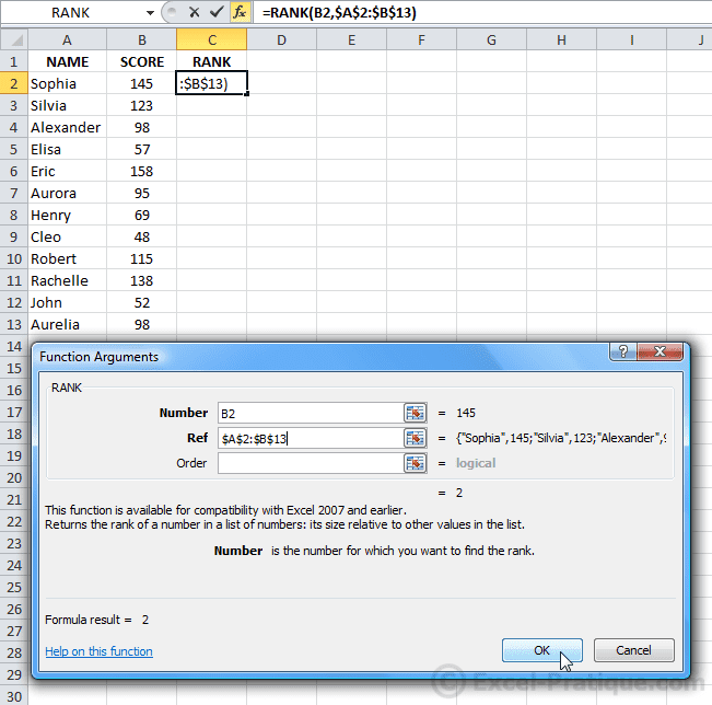 Excel function RANK
