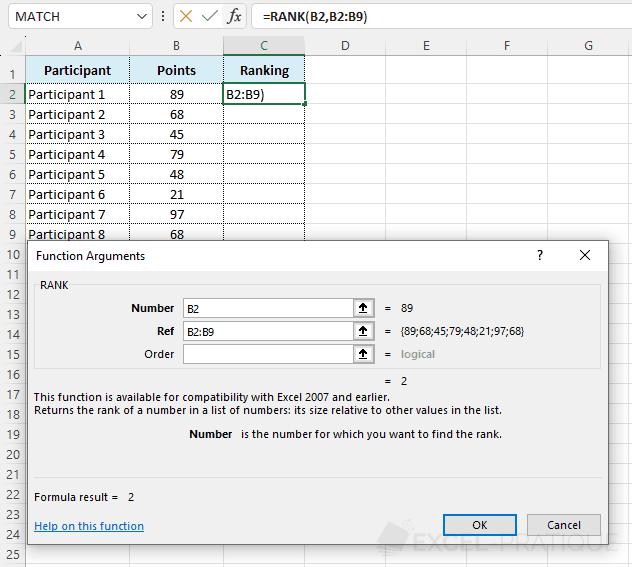 rank function - rank