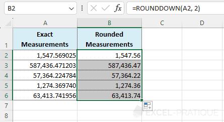 rounddown autofill - rounddown