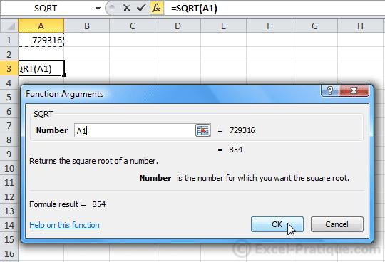 Excel Function Sqrt