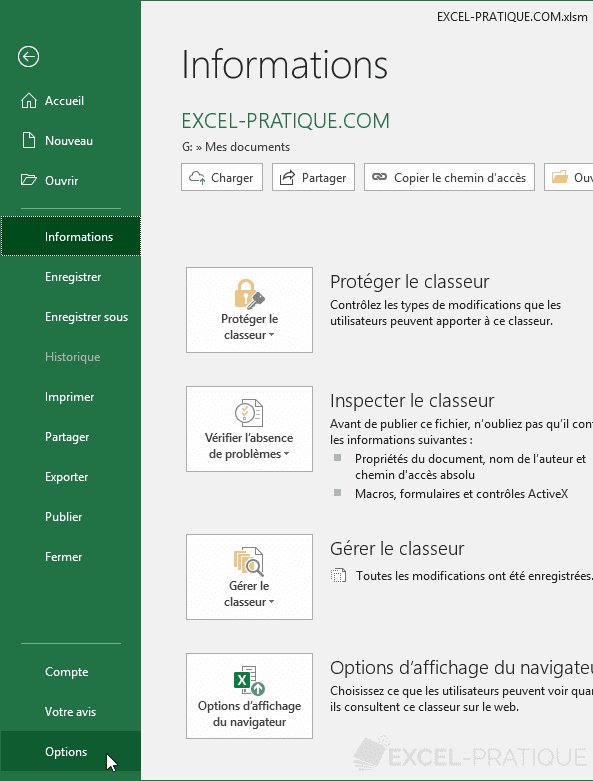excel 2016 fichier options activer les macros