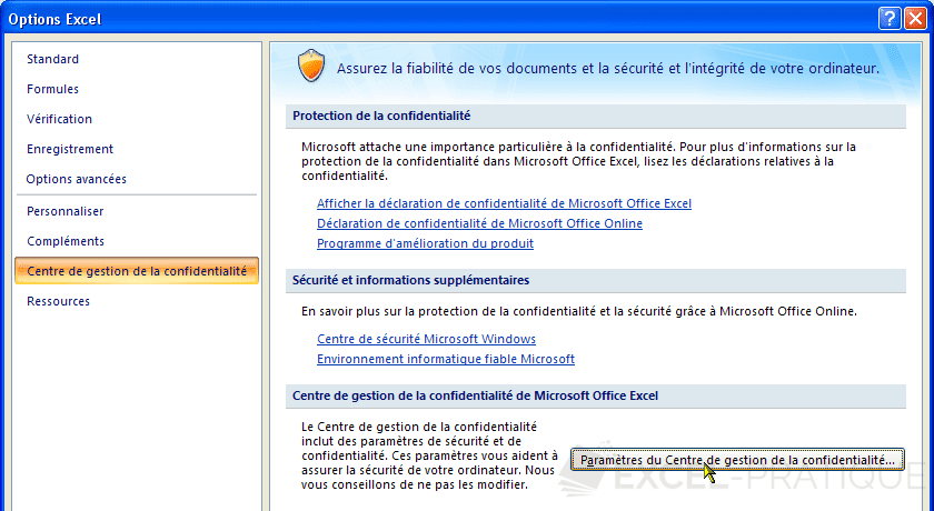 options excel 2007 gestion confidentialite activer les macros