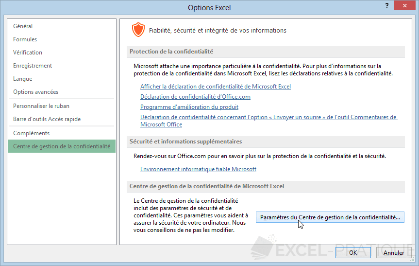 options excel 2013 gestion confidentialite activer les macros