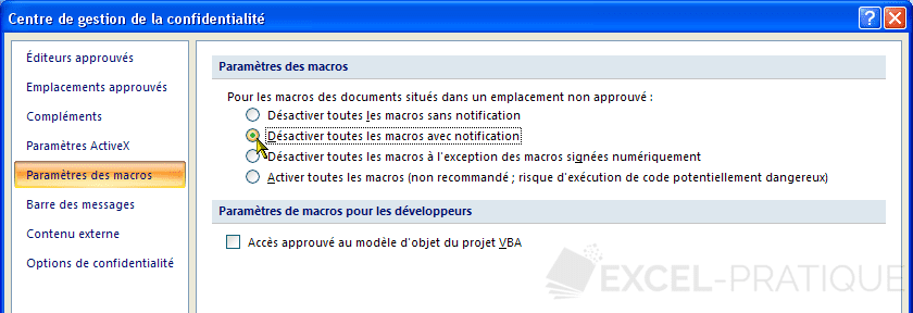 options parametres activation macros excel 2007 activer les