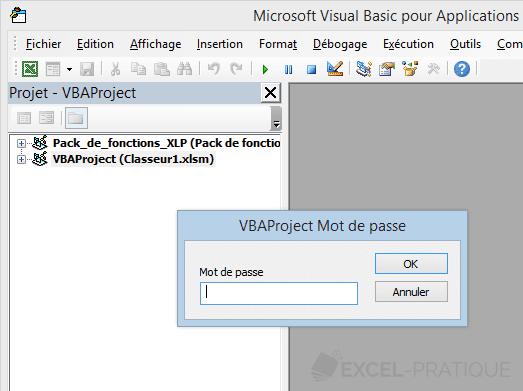 excel vba mot passe demande acces de