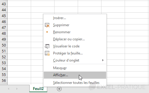 excel afficher feuille visible