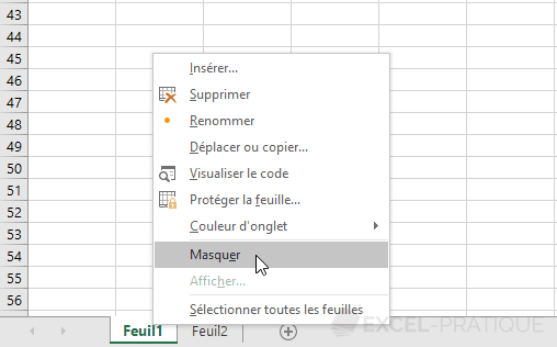 excel masquer feuille visible