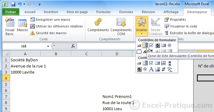 ajout liste deroulante - excel base de donnees facturation2