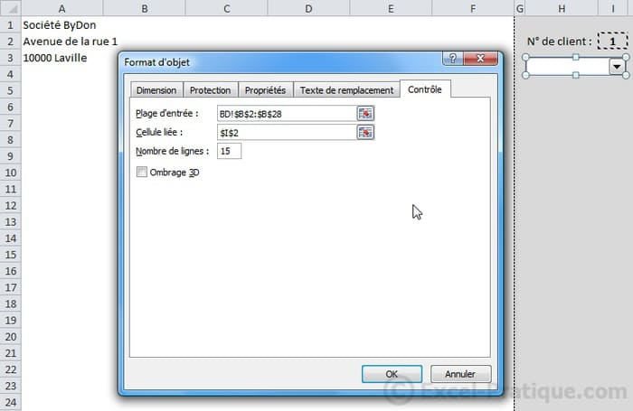 format liste deroulante - excel base de donnees facturation2