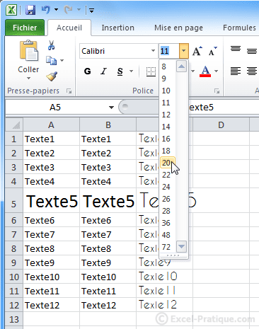changer taille caracteres excel bases2