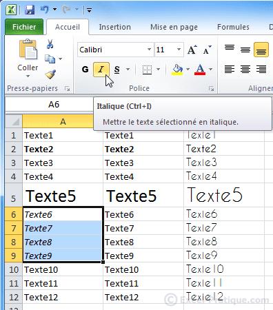 texte en italique excel bases2