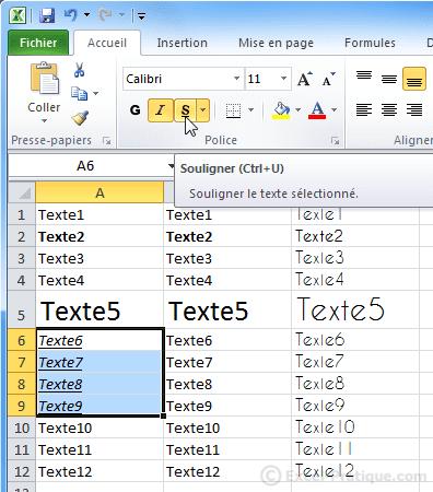 texte souligne excel bases2
