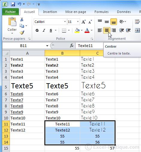 texte centre - excel bases3